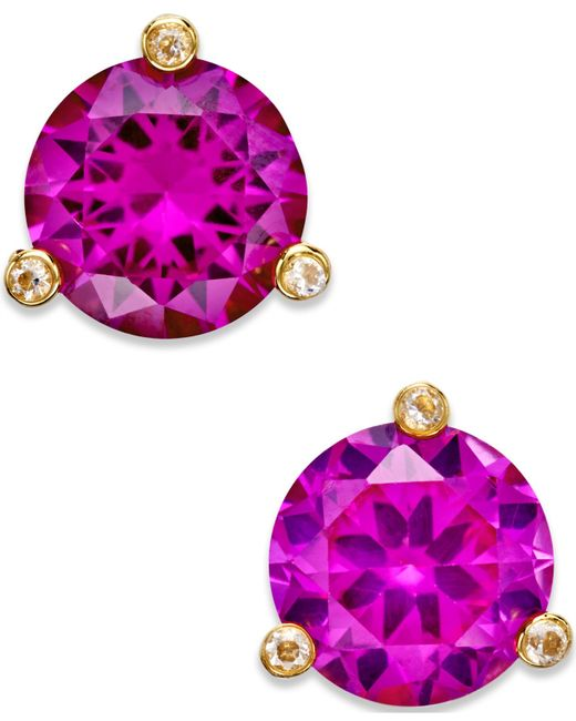 Kate Spade | Purple Gold-tone Mini Round Stud Earrings | Lyst