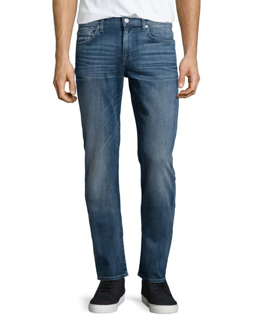 7 For All Mankind | Blue Straight Leg Jeans for Men | Lyst