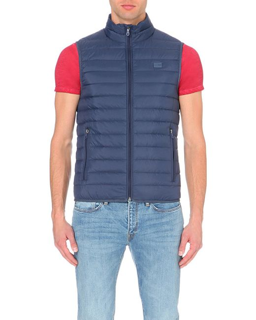 Armani Jeans | Blue Quilted Gilet for Men | Lyst
