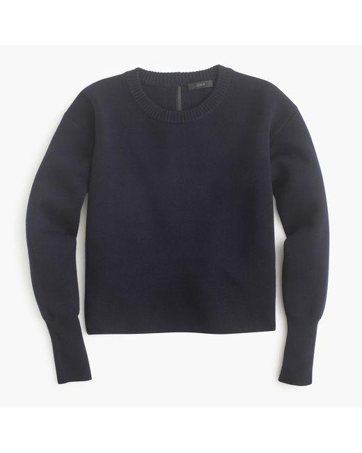 J.Crew | Blue Back-zip Crewneck Sweater | Lyst