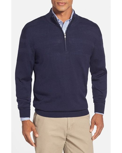 Cutter & Buck | Blue 'douglas' Merino Wool Blend Half Zip Sweater for Men | Lyst