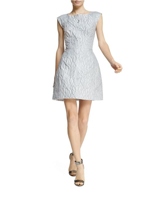 Halston | Metallic Jacquard Cap-sleeve Fit And Flare Dress | Lyst