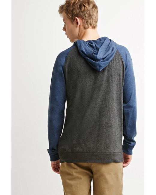 Forever 21 | Gray Colorblocked Raglan Hoodie for Men | Lyst