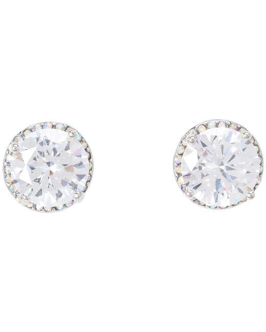 Betsey Johnson | Metallic Crystal Rhodium Crystal Stud Medium Earrings | Lyst