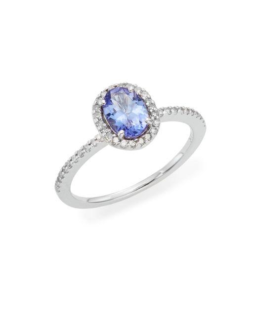 Effy | Blue Tanzanite, Diamond & 14k White Gold Halo Ring | Lyst