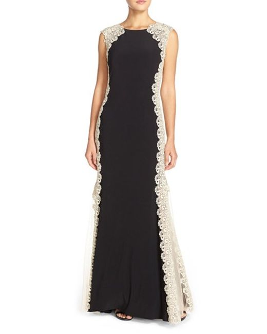 Xscape Lace Sides Jersey Gown In Gold Black Gold Lyst