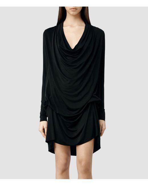 AllSaints   Black Amei Long Sleeved Dress   Lyst