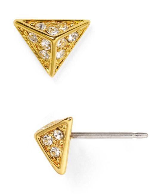 House of Harlow 1960   Metallic Pavé Triangle Stud Earrings   Lyst
