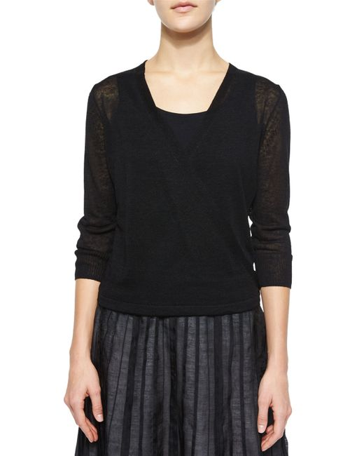 NIC+ZOE   Black 4-way Linen-blend Knit Cardigan   Lyst