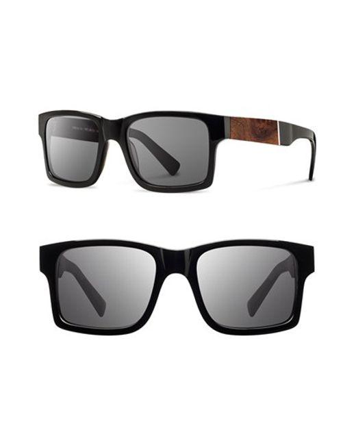 Shwood | Black 'haystack' 52mm Polarized Wood Sunglasses for Men | Lyst