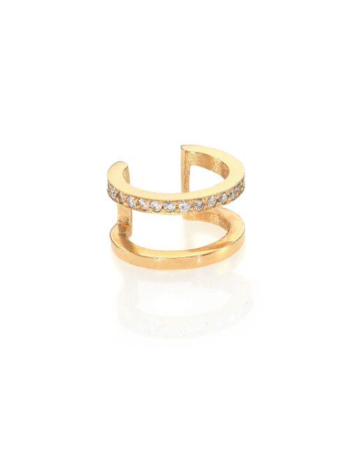 Zoe Chicco | Metallic Pavé Diamond & 14k Yellow Gold Single Ear Cuff | Lyst