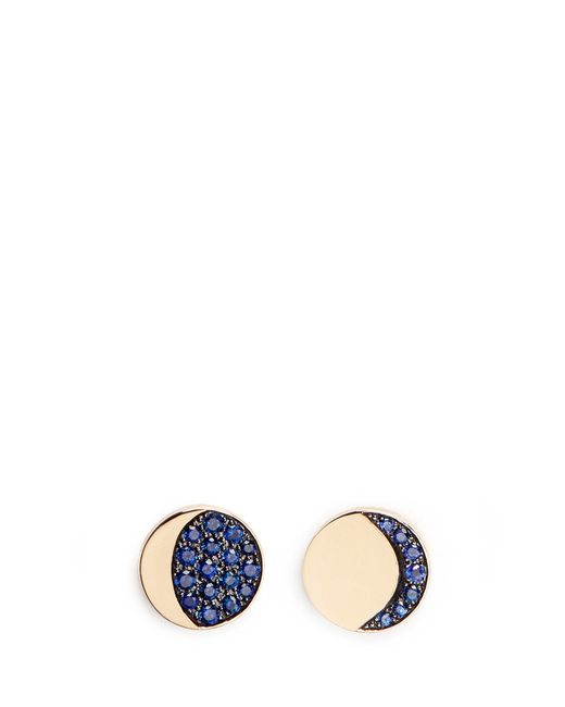 Pamela Love | Blue 'moon Phase' Mismatched Sapphire 18k Yellow Gold Earrings | Lyst