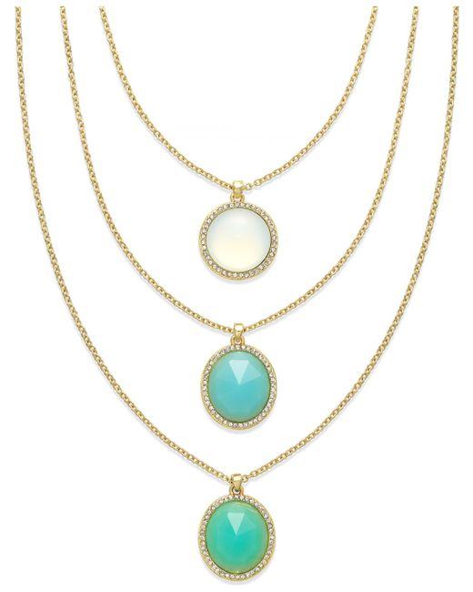 ABS By Allen Schwartz | Blue Gold-tone Round Stone Three Row Necklace | Lyst