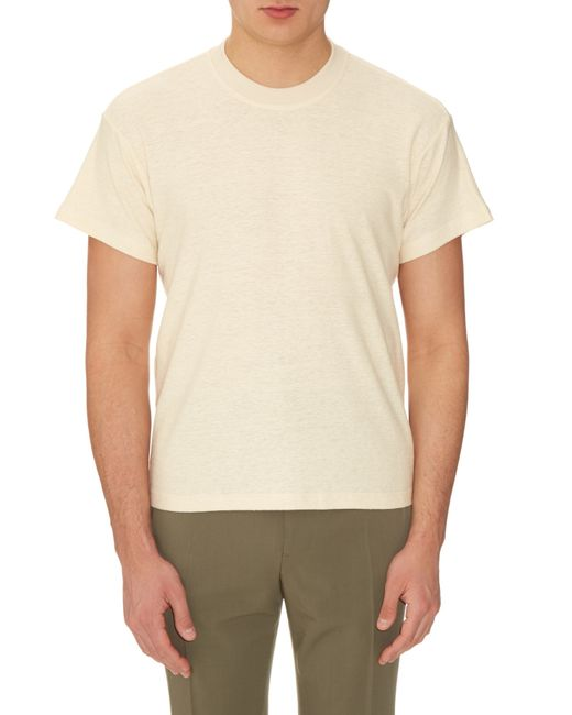 Fanmail boxy cotton and hemp blend t shirt in natural for for Mens hemp t shirts