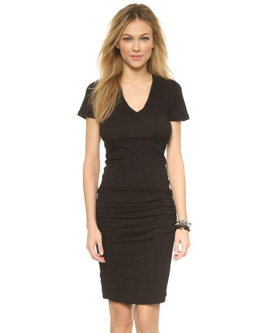 Monrow | Black V Neck Dress | Lyst