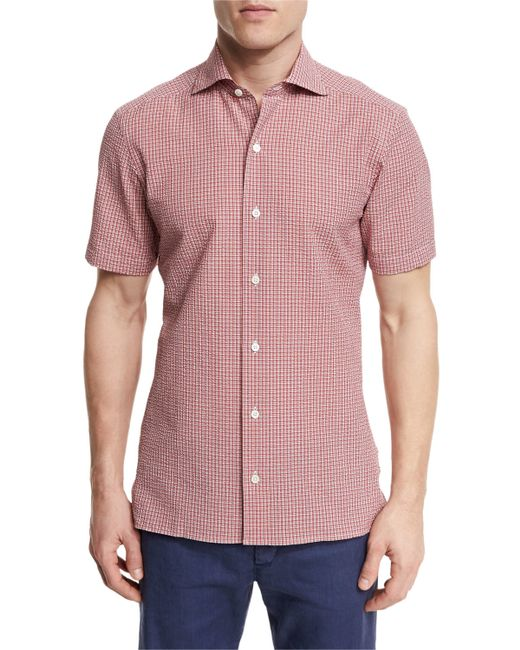 Ermenegildo zegna seersucker check short sleeve shirt in for Mens seersucker shirts on sale