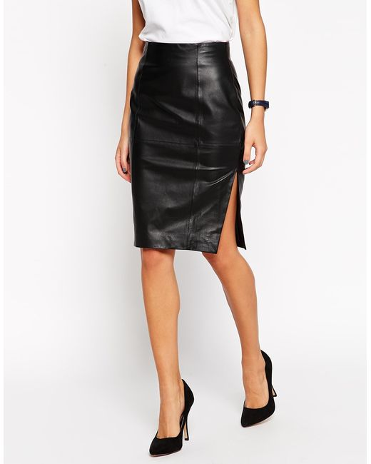 Asos Pencil Skirt In Leather With Side Split In Black Lyst