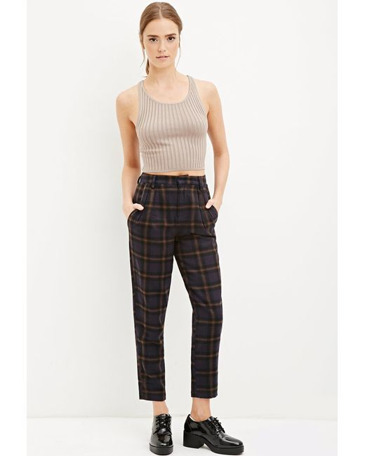 Forever 21 | Blue Tartan Plaid Trousers | Lyst