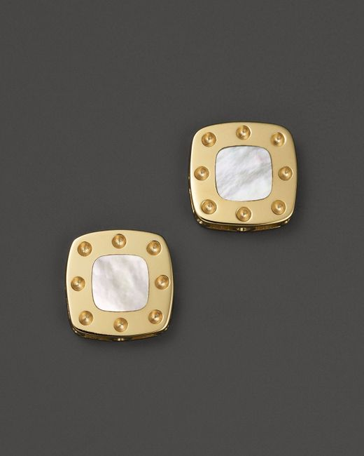 Roberto Coin | Metallic 18k Yellow Gold Mini Pois Moi Mother-of-pearl Square Stud Earrings | Lyst