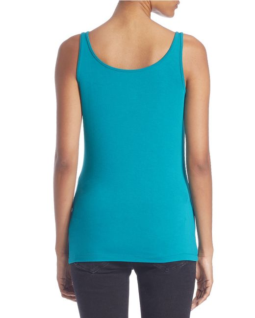 Lord & Taylor   Blue Stretch Roundneck Tank   Lyst