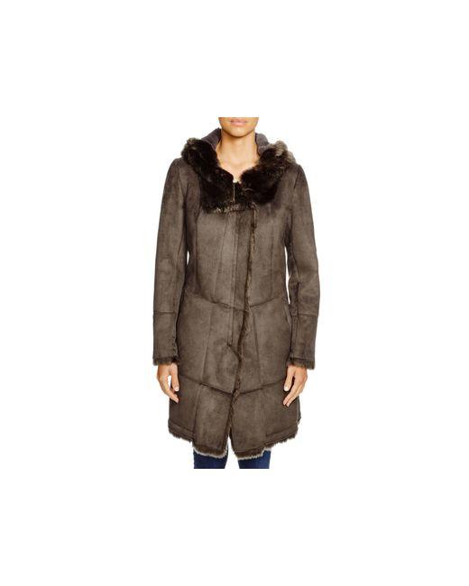 T Tahari | Brown Isabella Faux Shearling Hooded Coat | Lyst