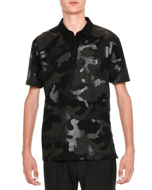 Valentino tonal camo print polo shirt in black for men lyst for Camo polo shirts for men