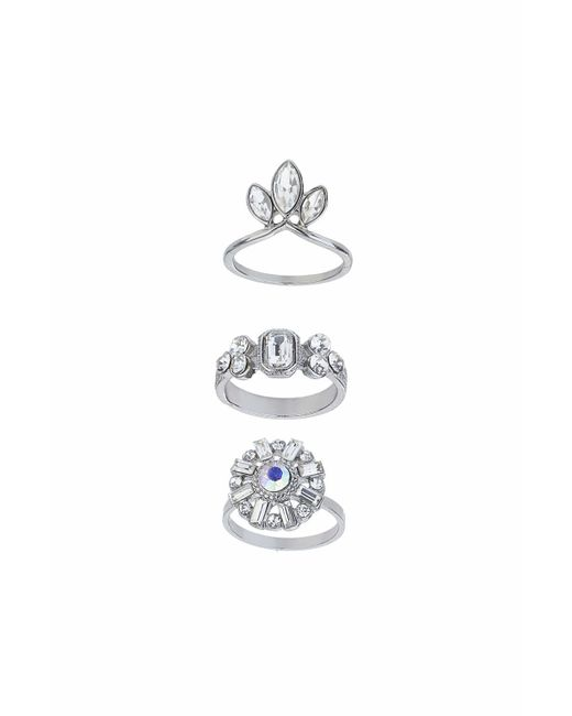 TOPSHOP   Silver Stone Encrusted Ring Set   Lyst
