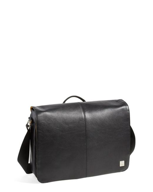 Knomo | Black 'bungo' Leather Messenger Bag for Men | Lyst