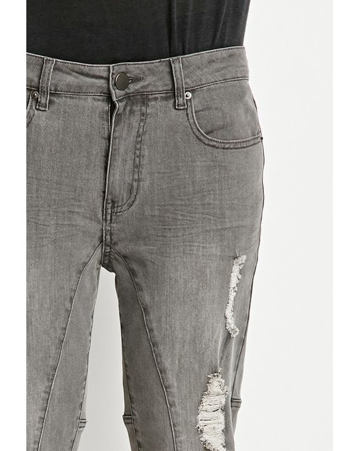 Forever 21 | Gray Distressed Slim Fit Jeans for Men | Lyst