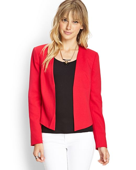 Forever  Contemporary Classic Collarless Blazer In Red