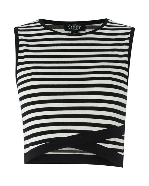 Description Pair this white and black striped crop top with your fave high waist bottoms for a totally chic look. Features a faux gold button down front and made of ultra-soft ribbed knit fabric for a perfect fit.