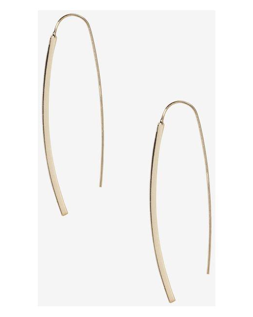 Express | Metallic Metal Bar Pull Through Earrings | Lyst
