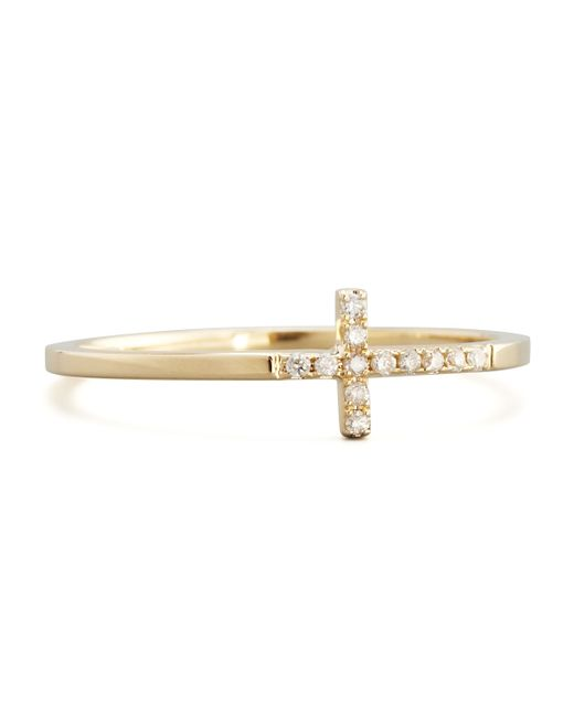 Sydney Evan | Metallic Pave Diamond Cross Ring | Lyst