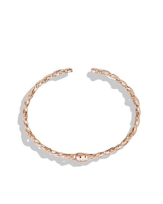 David Yurman   Pink Venetian Quatrefoil Single-row Cuff Bracelet With Diamonds In Rose Gold   Lyst