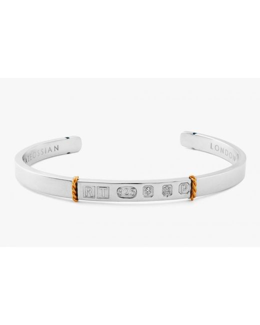 Tateossian | Metallic Limited Edition Silver & 18k Gold Hallmark Bangle for Men | Lyst