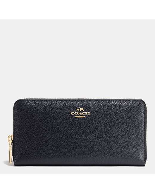 COACH | Blue Accordion Zip Wallet In Pebble Leather | Lyst