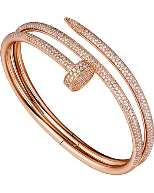 Cartier | Juste Un Clou 18ct Pink-gold And Diamond Double Bracelet | Lyst