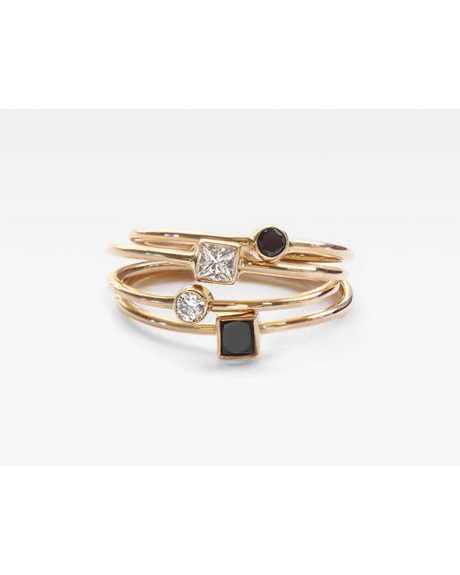 Vrai & Oro | Metallic Square Black Diamond Stacker | Lyst