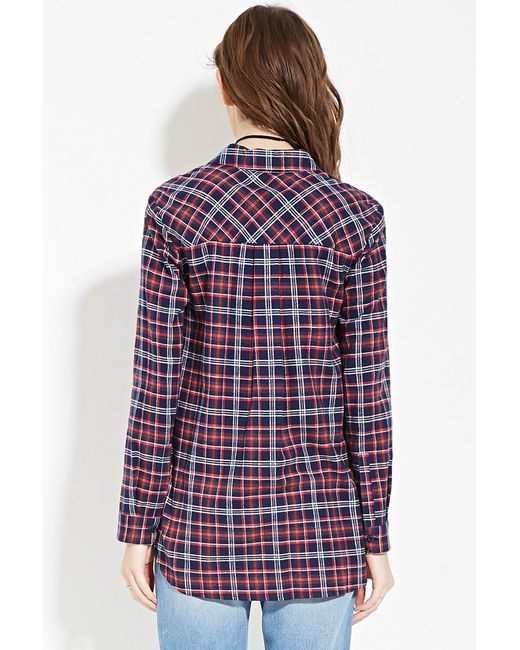 Forever 21 Check Flannel Shirt In Blue Red Navy Lyst