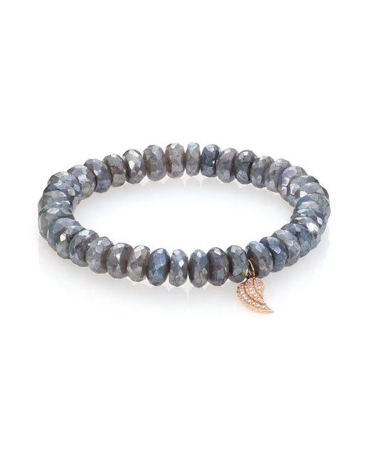 Sydney Evan | Blue Diamond, Labradorite & 14k Rose Gold Wing Beaded Stretch Bracelet | Lyst