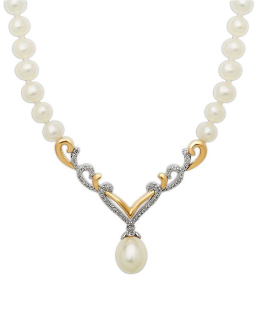 Lord & Taylor | Metallic Sterling Silver And 14kt. Yellow Gold Freshwater Pearl And Diamond Necklace | Lyst