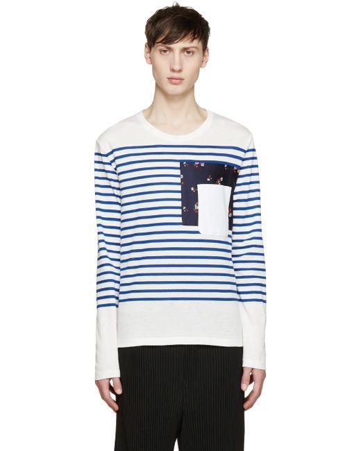 Alexander mcqueen white blue breton stripe t shirt in for Blue white striped t shirt mens
