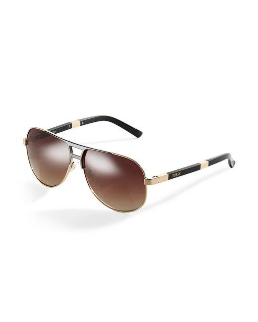 Guess   Metallic Mixed Media Aviator Sunglasses   Lyst