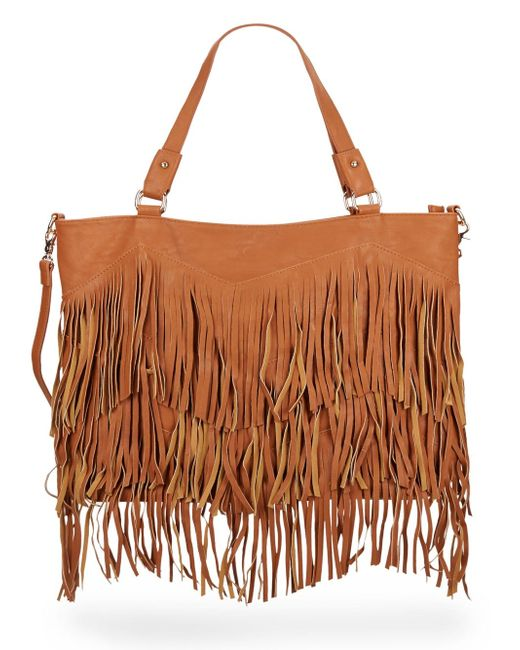 Urban Originals | Brown Ziggy Fringe Faux Leather Convertible Tote | Lyst