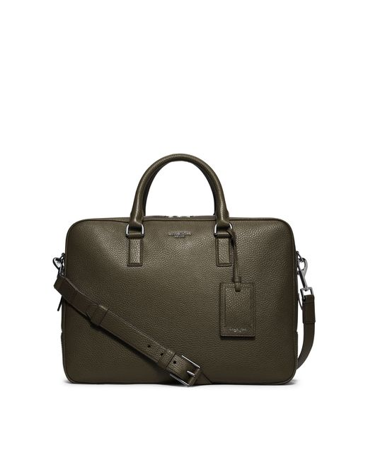 Michael Kors | Green Bryant Large Leather Briefcase for Men | Lyst