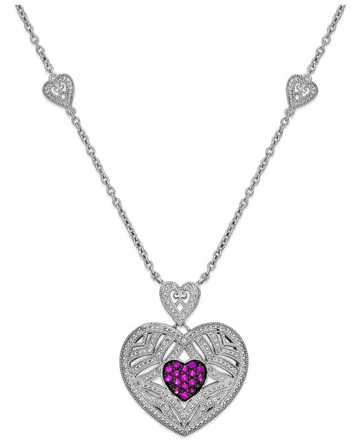 Macy's | Metallic Ruby (1/3 Ct. T.w.) And Diamond (1/10 Ct. T.w.) Heart Pendant In Sterling Silver | Lyst