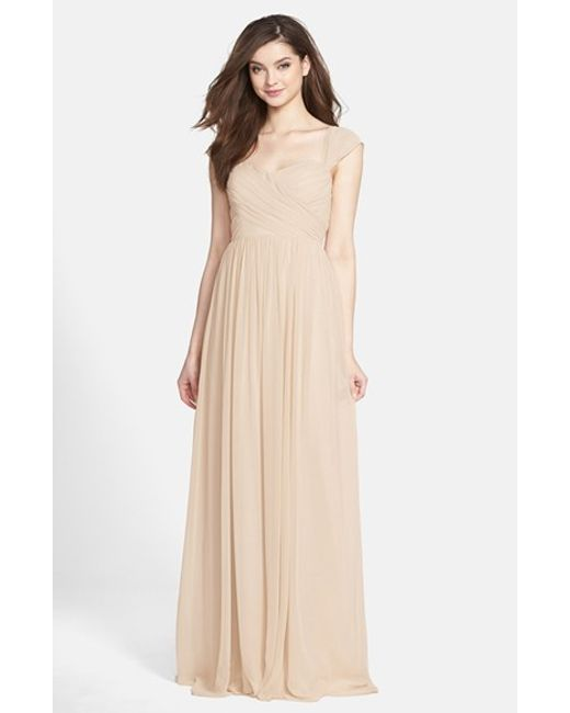Jenny Yoo   Metallic 'leah' Convertible Chiffon Gown   Lyst