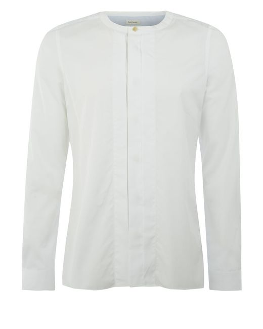 Paul Smith | White Slim-fit Contrast-cuff Cotton-poplin Shirt for Men | Lyst