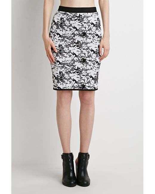 forever 21 abstract patterned pencil skirt in black lyst