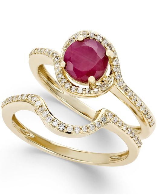 Macy s Ruby 1 Ct T w And Diamond 1 4 Ct T w Bridal Set 2 Rings